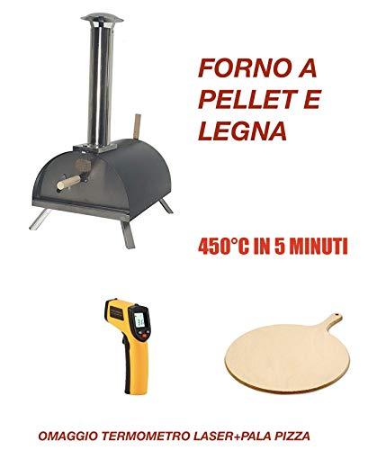 Forno per Pizza A Pellet, Legna. 450°C in 5 Minuti! 2 OMAGGI!Nuova Versione 2019