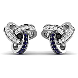 Vijisan Earring Collection :- 925 Sterling Silver. 0.32 CTW 10K White Gold Plated Round Design Blue Sapphire & Diamond Stud Earrings