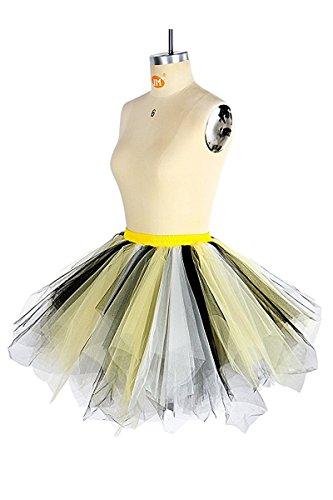 Honeystore Damen's Neuheiten Tutu Unterkleid Rock Ballet Petticoat Abschlussball Tanz Party Tutu Rock Abend Gelegenheit Zubehör Schwarz Gelb und Weiß