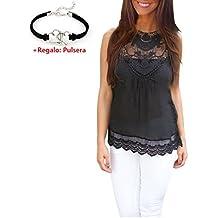 Malloom®Mujer Estival Chaleco Sin Mangas Blusa Casual Tank Tops Encaje Camisa (negro, M)