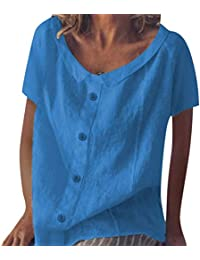 Qingsiy Blusa Mujer de Fiesta de Mujer Elegantes Camisa de Verano Mujer Camiseta de Manga Corta con Estampado…