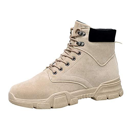 LIMITA Scarponcini da Uomo in Stile Inglese di Grandi Dimensioni, in Pelle, Trend Wild Chelsea Booties Desert Boots Stivali da Combattimento da Uomo Caribou Stivali, Beige (Beige), 43 EU