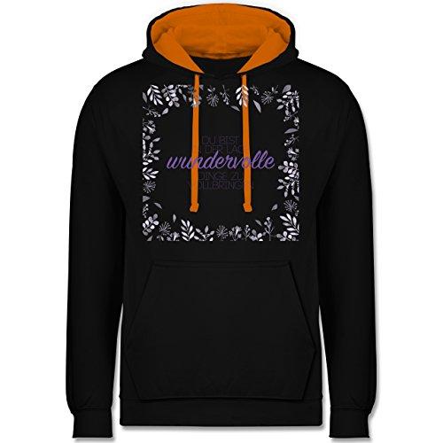 Statement Shirts - Inspirierende Zitate - Du kannst wundervolle Dinge - Kontrast Hoodie Schwarz/Orange