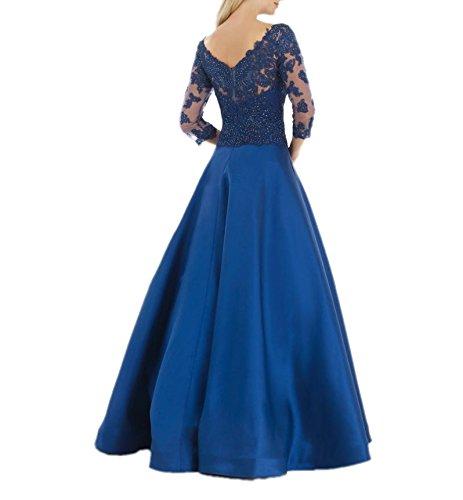 Charmant Damen Elegant Royal Blau Spitze Damen Festlichkleider Brautmutterkleider Abendkleider Langarmarm Royal Blau