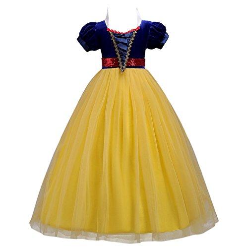 Fiore ragazze bambina biancaneve abito lungo principessa pageant cerimonia per la damigella floreale giallo 5-6 anni