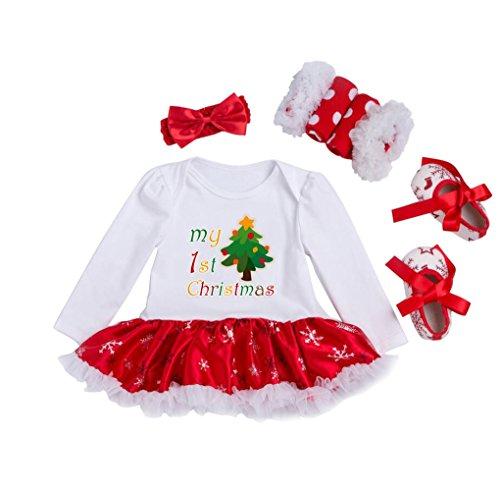 Imagen de vlunt vestido de navidadjuego de cuatro piezas fiesta princesa para bebé niña disfraz de navidad pelele fiesta primavera otoño