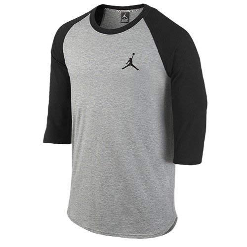 Jordan by Nike Mens Core 3/4 Sleeve Raglan Shirt (Small) - Sleeve Core Raglan