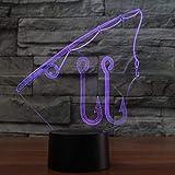 Lampe Acrylique 7 Couleurs Changement 3D Visuel Led Nuit Lumière Canne À Pêche Modélisation Usb Home Decor Lampe De Table Crochets De Poisson Outils Luminaire