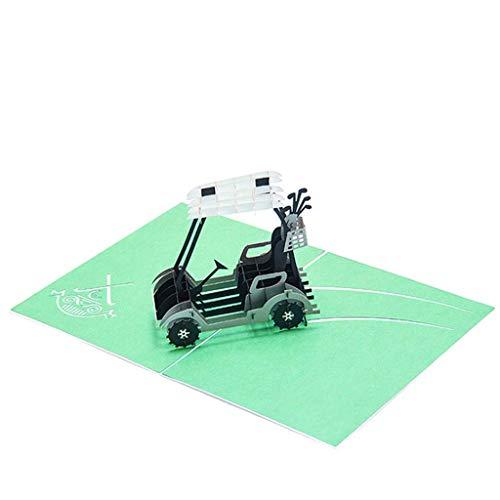 cansenty 3D Grußkarte Golf Cart 3D Pop Up Grußkarte Handarbeit Geburtstag Hochzeit Einladung Basteln Kunst Urlaub Segen