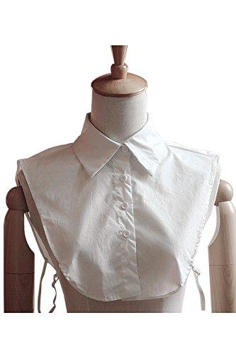 Vococal - Mezzo Camicia Camicetta Falso Colletto Collare Staccabile Sul Lavoro per Signora Donne (Bianco)
