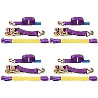 Correa de trinquete – Pack de 4, correa de amarre de trinquete con correa de amarre, correa de trinquete con gancho en forma de J capacidad de sujeción 5000 kg de tensión de rotura