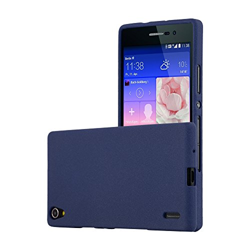 Preisvergleich Produktbild Cadorabo Hülle für Huawei P7 - Hülle in Frost DUNKEL BLAU – Handyhülle aus TPU Silikon im matten Frosted Design - Silikonhülle Schutzhülle Ultra Slim Soft Back Cover Case Bumper