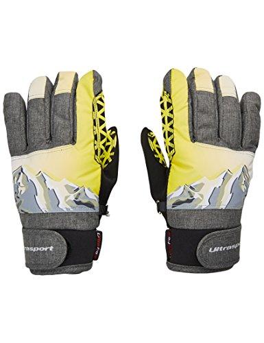 Ultrasport Ski Kinderhandschuhe Rocky, flexibler Finger-Handschuh für Kinder mit viel Bewegungsfreiheit, wasserbeständig, winddicht, schwarz/grau/weiß/neon, Größe 12-14 J.
