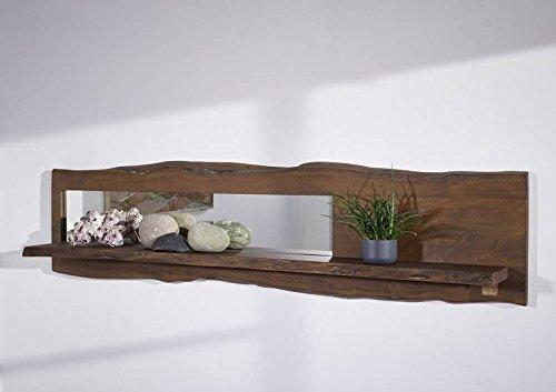 Étagère murale avec miroir 191x22cm - Bois massif d'acacia laqué (Brun classique) - Design naturel - LIVE EDGE #204