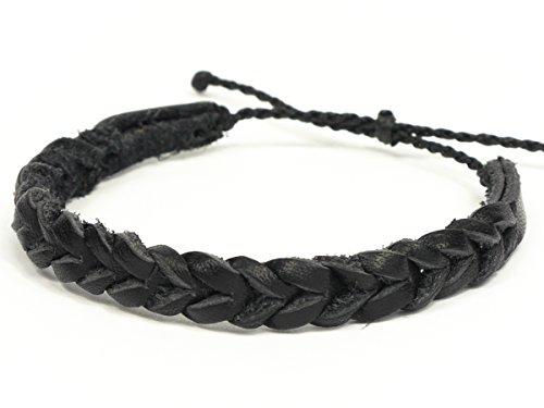 SIMARU Lederarmband Surferarmband aus hochwertigem Leder für Herren und Damen Armband perfekt als Freundschaftsarmbänder auch größenverstellbar (schwarz)
