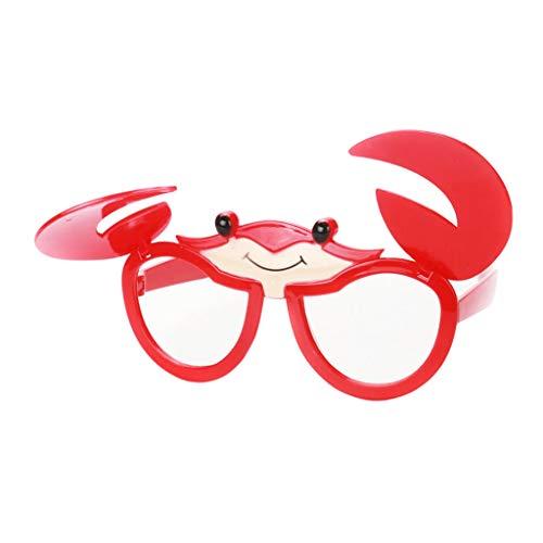 F Fityle Damen Herren Party-Brille Spaß-Brille Dekobrille Karnevalbrille Brille Gläser Sonnenbrille für Kostüm Party Club Tanz Props - Krabbe