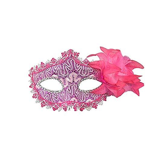 Schleier Wache Bildschirm Domino falsche Vorderseite Halloween Venedig Maske Make-up Tanzparty Maske Schönheit Prinzessin halbes Gesicht Feder Maske Rose rot,Pink ()