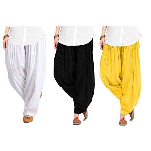 Spangel Fashion Women\'s Soft Cotton Full Stitched Ready made Patiala Bottom Salwar Combo Pack Of 3 (Black, White, Yellow_Free Size)