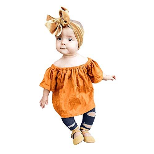 Pwtchenty Sommerkleidung Bekleidungssets Kleinkind Kleinkind Baby Jungen Mädchen Solid Print Tops Crewneck T-Shirt + Ripped Jeans Hosen Set Sommer Kleidungs Outfits