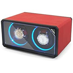 CKB Ltd DUAL RED Double Automatic Watch Winder with LED Lights 4 Timer Modes Premium Silent Motor - CKBLED76R