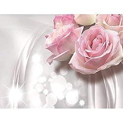 Fototapete Blumen 3D Rose Grau 396 x 280 cm Vlies Wand Tapete Wohnzimmer Schlafzimmer Büro Flur Dekoration Wandbilder XXL Moderne Wanddeko Flower 100% MADE IN GERMANY - Runa Tapeten 9129012a