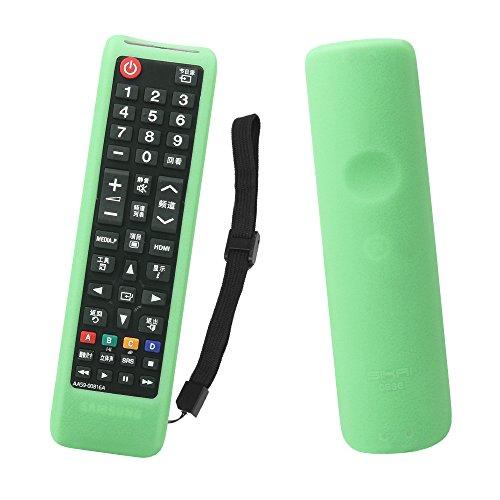 Sikai custodia protettiva antipolvere in gomma siliconica per samsung telecomando originale bn59-01175p antigraffio cover di protezione per samsung tv remote proteggi (verde fluorescente)