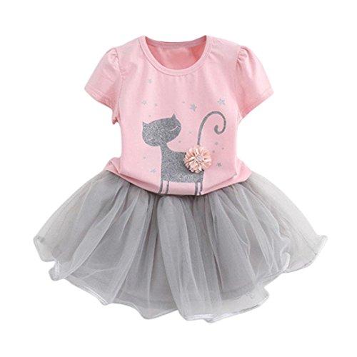 LuckyBB Kids Girls Fashion Cartoon Little Kitten Printed Shirt Dress