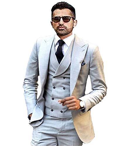 YSMO Männer Slim Fit Anzüge Weste Business Tuxedo Dreiteilige Jacke Hosen Weste Set - Tuxedo-anzug