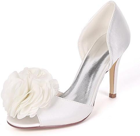 Elobaby Zapatos De Boda De Mujer Mediados De Tacones Altos Peep Toe Plataforma Flores Cabeza Redonda Noche 35-...