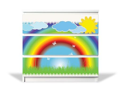 banjado YOURDEA MöbelFolie für IKEA Malm Kommode mit 3 Schubladen | Perfekt für Das Kinderzimmer | Möbelaufkleber 3-teilig ca. 80x78cm | Möbelsticker Selbstklebend mit Motiv Regenbogen -