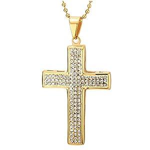 COOLSTEELANDBEYOND Goldfarben Kreuz Anhänger mit Zirkonia, Herren Damen Edelstahl Halskette, 75cm Stahl Kugelkette