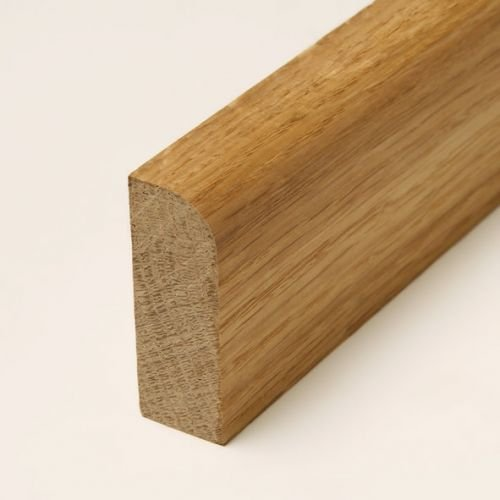 29 lfm Sockelleiste Echtholz Eiche 58 x 19mm mit abgerundeter Vorderkante geölt