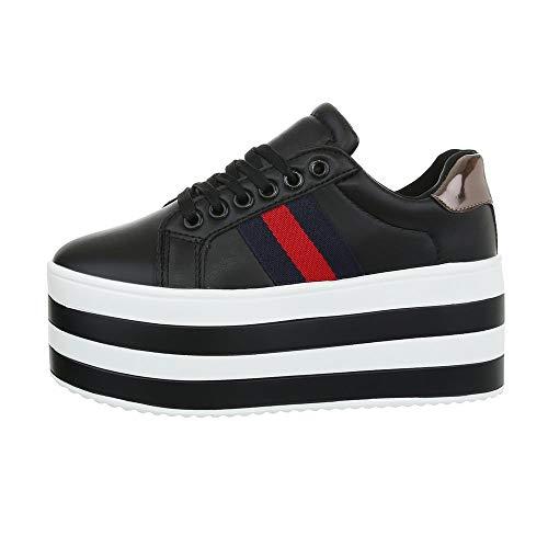 Ital-Design Damenschuhe Freizeitschuhe Sneakers Low Synthetik Schwarz Gr. 38