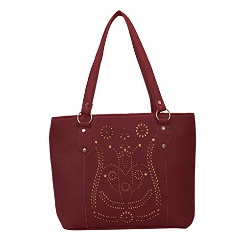 Alice Designer cutwork handbag Maroon(NKS-513-GUN)  available at amazon for Rs.299