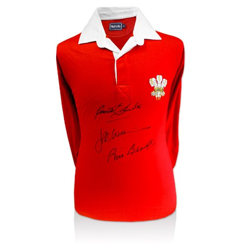 Wales Rugby Shirt Signed By Welsh Legends JPR Williams, Gareth Edwards & Phil Bennett