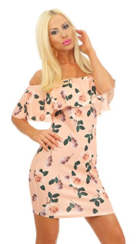 Fashion4Young 11274 Damen Bandeau Minikleid Carmenstyle Kleid Sommerkleid Schulterfrei Blumen...