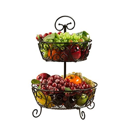 Schwarz Schneiden, Schüssel (Disaud Obstkorb Aufsatz-Obstkorb 2 Ebenen Ständer Aufbewahrungskorb Schwarz)