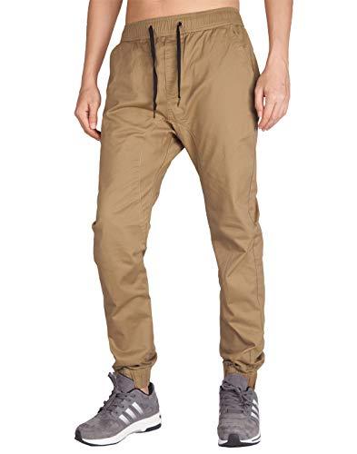 ITALY MORN Pantalón para Hombre Casual Chino Jogging Algodón 20 Colores L, Caqui Oscuro
