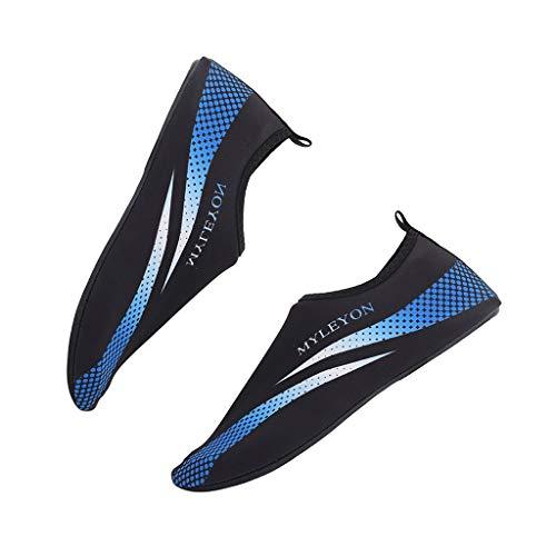 TianWlio Badeschuhe Strandschuhe Wasserschuhe Aquaschuhe Schwimmschuhe Surfschuhe Mode Barfuß Wasser Haut Schuhe Socken Strand Schwimmen Surf Yoga Übung Heiß Blau XL