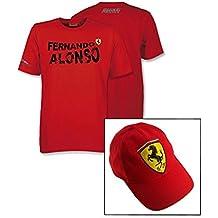 Camiseta y gorra Ferrari F1Team Nombre de Fernando Alonso Logo Rojo, hombre, rojo, XL