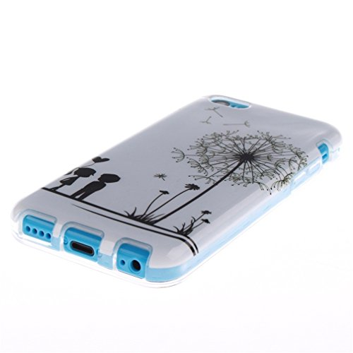 KATUMO®Apple iPhone 5C Custodia in Silicone Sottile Design Protettive Cover per Apple iPhone 5C Gel Case,Lettera Cartone Animato Amante Dente di Leone