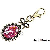 Porte-clés Bijou de sac nœud Cadeau pour la Nourrice ! Pour ma Nounou ! rose jaune bronze