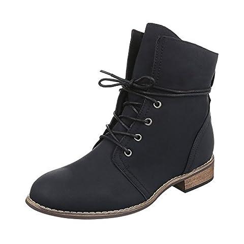 Schnürstiefeletten Damen-Schuhe Biker Boots Blockabsatz Blockabsatz Schnürsenkel Ital-Design Stiefeletten Schwarz, Gr 38,