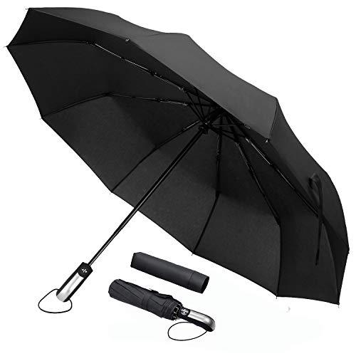 Paraguas Plegable Hombre Automático Grande Paraguas de Viaje Portátil Grande Antiviento Paraguas Compacto Recubrimiento de Teflón y Manija Ergonómica para Mujer Hombre (Plata Paraguas Plegable)