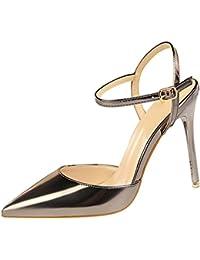 wealsex Escarpins Sandales Cuir Vernis Talon Haut Aiguilles Sexy Bout  Pointu Bride Cheville Chaussure Mode Simple 608439bc05b3