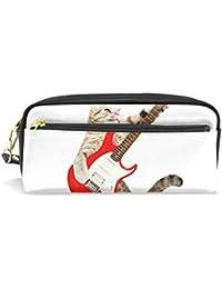 Amonka - Estuche para lápices de guitarra de gato, bolsa de maquillaje para cosméticos,