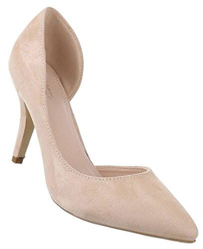 Damen-Schuhe Pumps   Frauen High Heels mit 9 cm Stiletto-Absatz in verschiedenen Farben und Größen   Schuhcity24   in Wildlederoptik Beige
