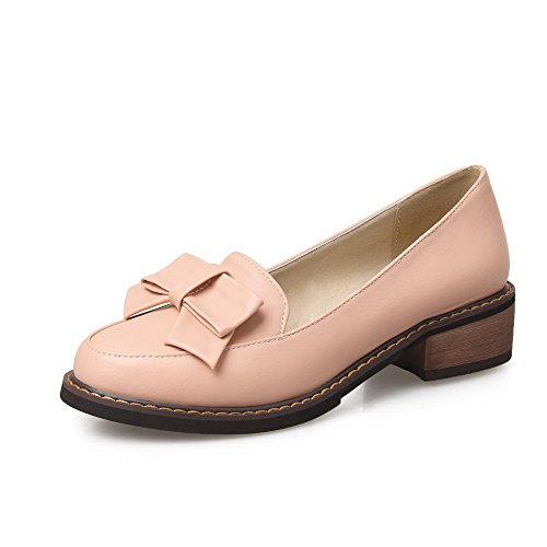 voguezone009-womens-soft-material-round-closed-toe-low-heels-pull-on-solid-pumps-shoes-pink-37