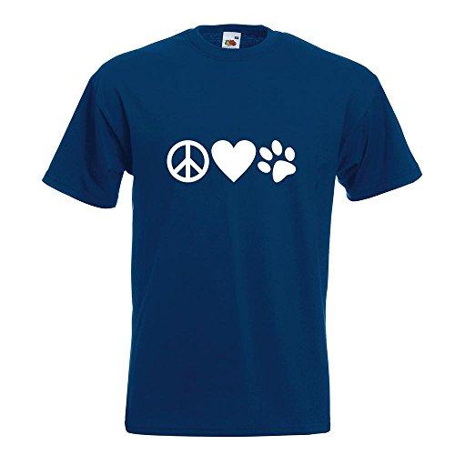 KIWISTAR - Peace Love Animals T-Shirt in 15 verschiedenen Farben - Herren Funshirt bedruckt Design Sprüche Spruch Motive Oberteil Baumwolle Print Größe S M L XL XXL Navy