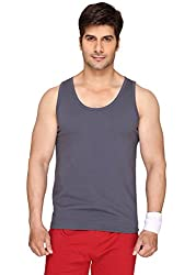 Sayitloud Mens Solid Dark Grey Melange Sleeveless vest